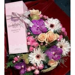 fleurs et champagne rosé